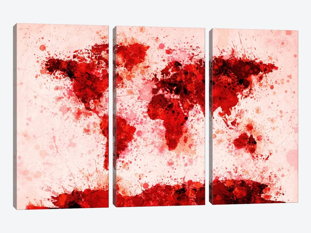 World Map Paint Splashes (Red) by Michael Tompsett 3-piece Art Print