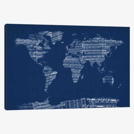 World Map Sheet Music (Blue) Canvas Print #12824} by Michael Tompsett Canvas Wall Art