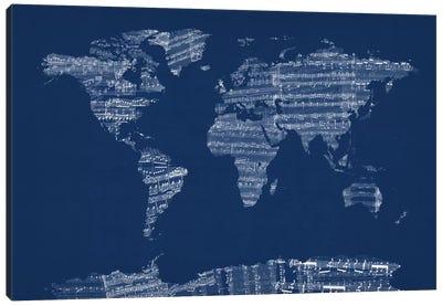 World Map Sheet Music (Blue) Canvas Print #12824