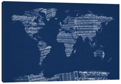 World Map Sheet Music (Blue) Canvas Art Print