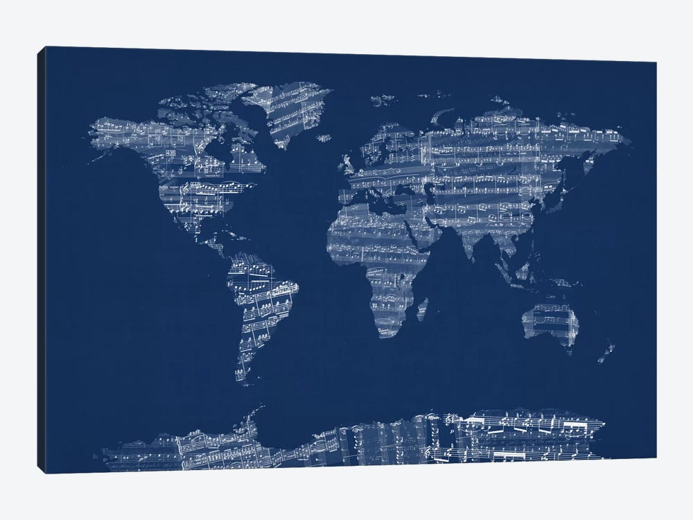 World Map Sheet Music (Blue) by Michael Tompsett 1-piece Canvas Art Print