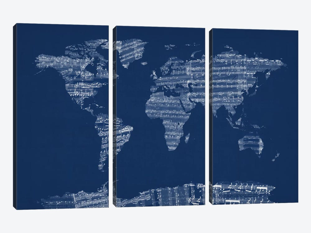 World Map Sheet Music (Blue) by Michael Tompsett 3-piece Canvas Art Print