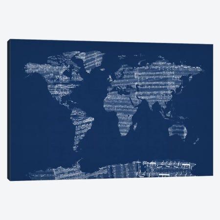 World Map Sheet Music (Blue) Canvas Print #12824} by Michael Tompsett Canvas Wall Art