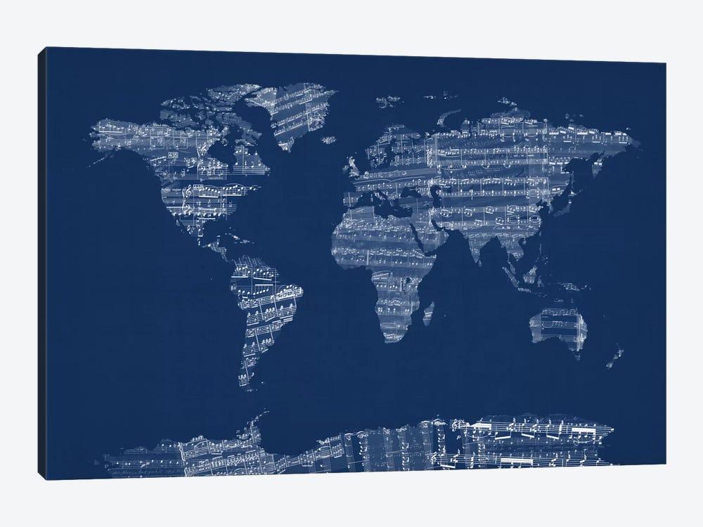 World Map Sheet Music (Blue) by Michael Tompsett 1-piece Canvas Art Print
