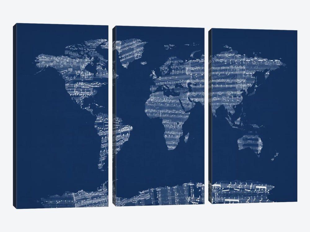 World Map Sheet Music (Blue) by Michael Tompsett 3-piece Canvas Art Print