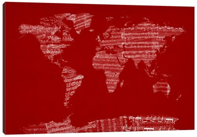 World Map Sheet Music (Red) Canvas Art Print