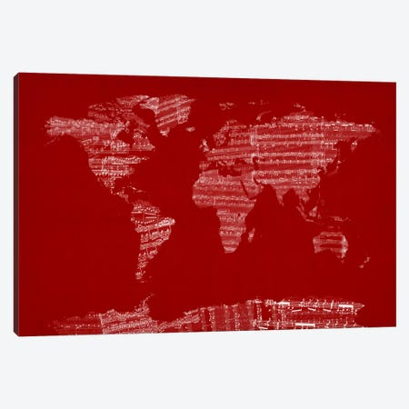 World Map Sheet Music (Red) Canvas Print #12825} by Michael Tompsett Canvas Art