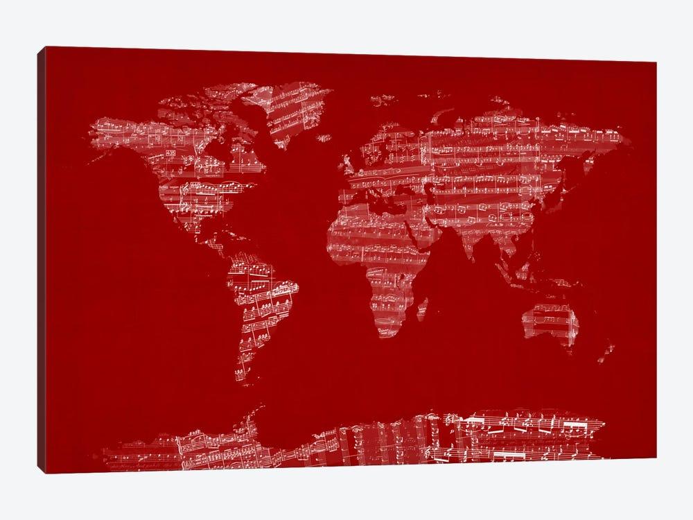 World Map Sheet Music (Red) by Michael Tompsett 1-piece Canvas Art