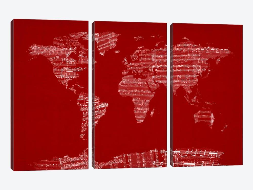 World Map Sheet Music (Red) by Michael Tompsett 3-piece Canvas Artwork