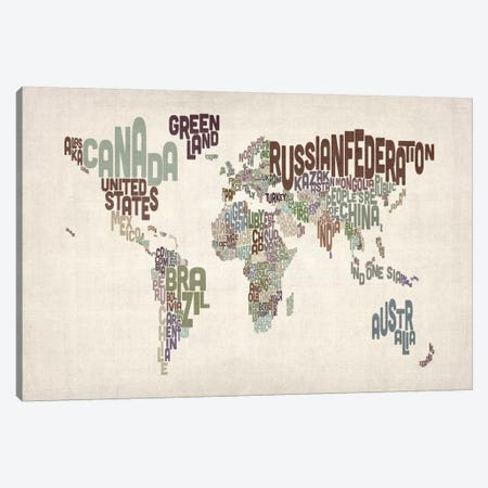 Typographic World Map VI Canvas Print #12826} by Michael Tompsett Canvas Art