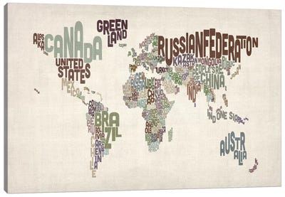 Typographic World Map VI Canvas Print #12826