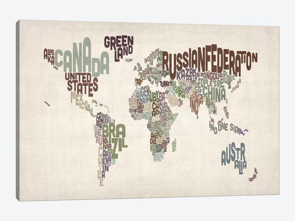 Typographic World Map VI by Michael Tompsett 1-piece Canvas Art Print