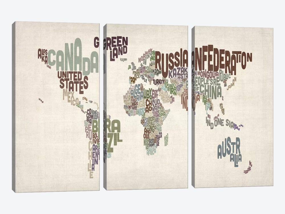 Typographic World Map VI by Michael Tompsett 3-piece Canvas Print