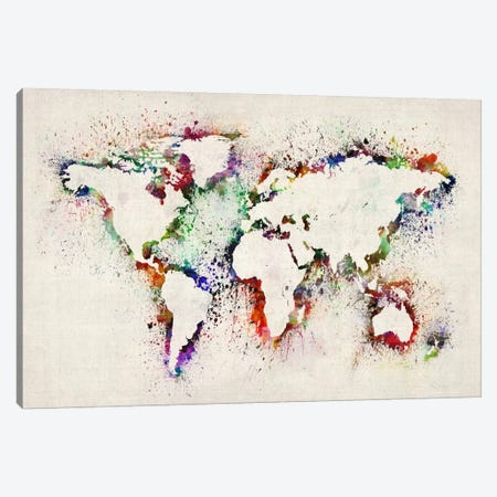 Map of The World Paint Splashes Canvas Print #12827} by Michael Tompsett Canvas Wall Art