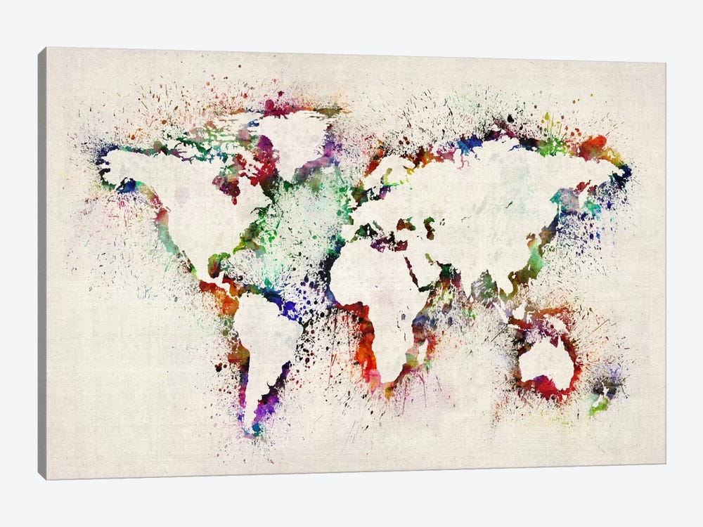 Map of The World Paint Splashes Canvas Wall... | Michael Tompsett | iCanvas