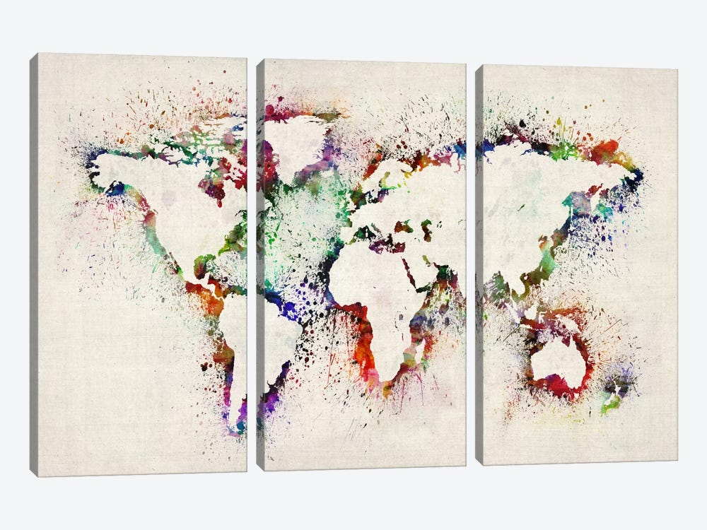 Map of The World Paint Splashes by Michael Tompsett 3-piece Canvas Artwork