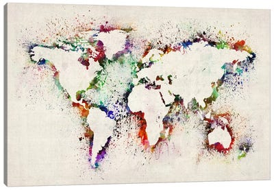 Map of The World Paint Splashes Canvas Art Print