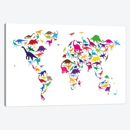 Dinosaur Map of The World Map II Canvas Print #12828} by Michael Tompsett Art Print