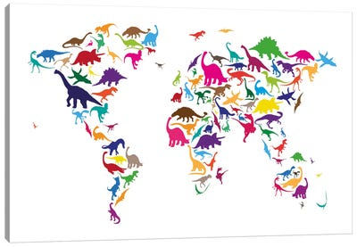 Dinosaur Map of The World Map II Canvas Print #12828