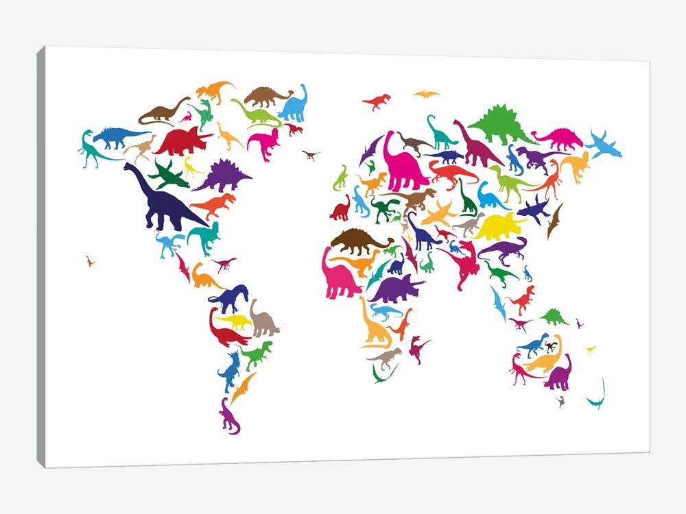 Dinosaur Map of The World Map II by Michael Tompsett 1-piece Canvas Art Print