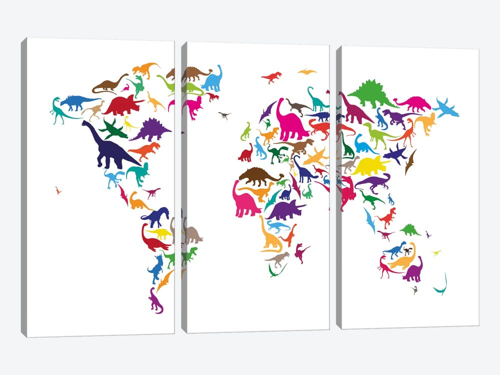 Dinosaur Map of The World Map II by Michael Tompsett 3-piece Canvas Print
