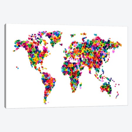 World Map Hearts (Multicolor) Canvas Print #12829} by Michael Tompsett Art Print