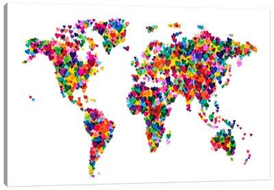 World Map Hearts (Multicolor) Canvas Print #12829
