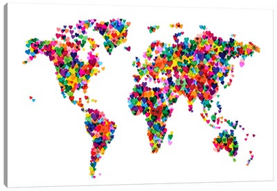 World Map Hearts (Multicolor) Canvas Art Print
