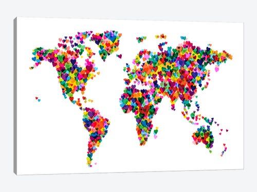 World Map Hearts Multicolor Canvas Art By Michael Tompsett Icanvas
