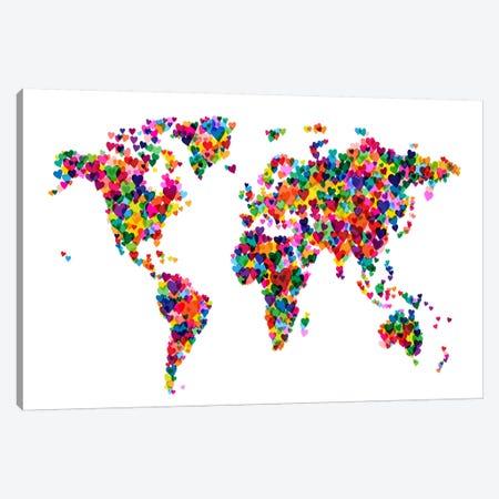 World Map Hearts (Multicolor) Canvas Print #12829} by Michael Tompsett Art Print