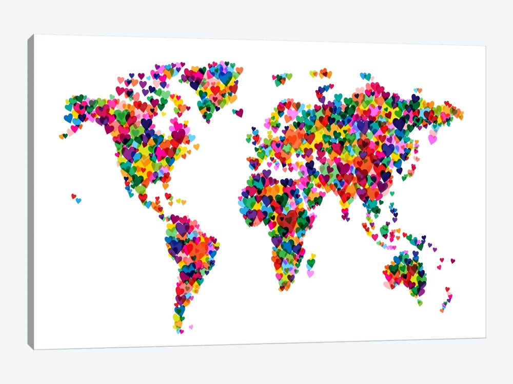 World Map Hearts (Multicolor) by Michael Tompsett 1-piece Canvas Artwork