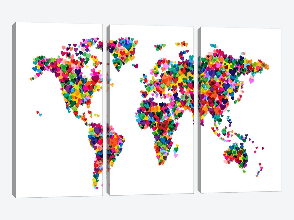 World Map Hearts (Multicolor) by Michael Tompsett 3-piece Canvas Wall Art
