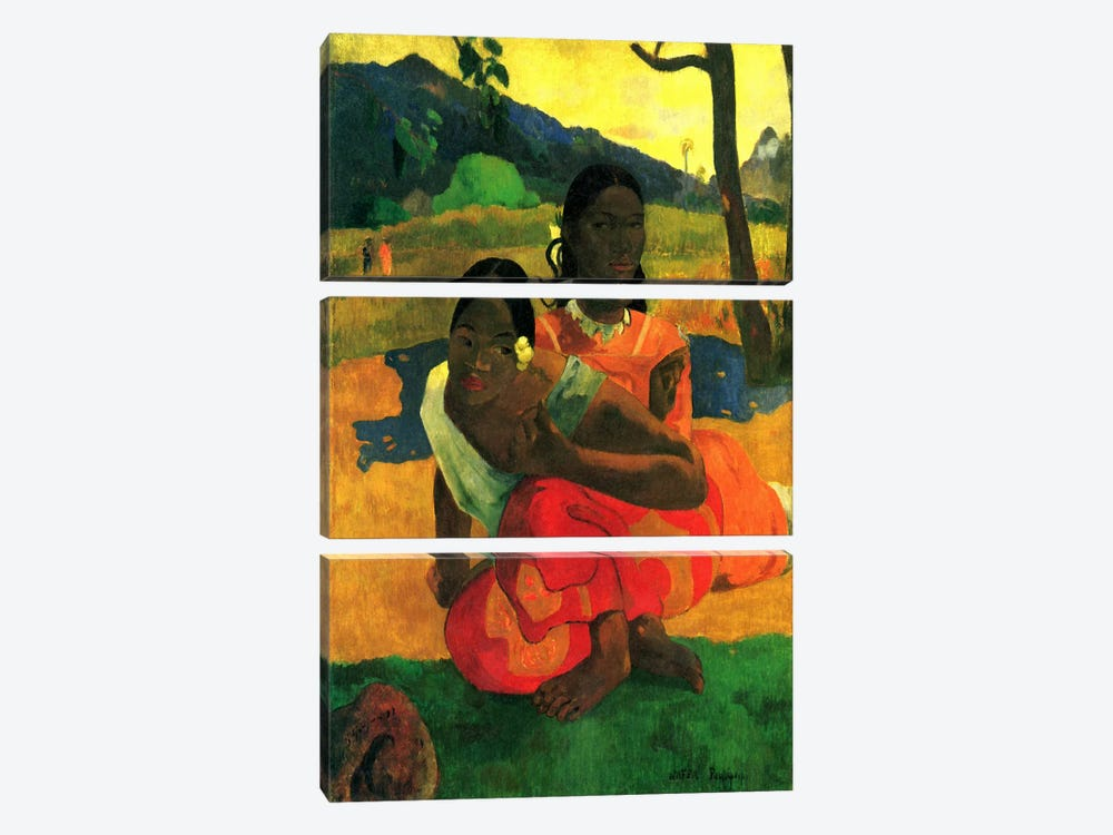 Nafea Faaipoipo (When are You Getting Married) 1892 by Paul Gauguin 3-piece Canvas Art Print