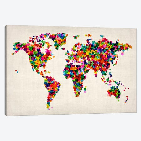 World Map Hearts (Multicolor) II Canvas Print #12830} by Michael Tompsett Canvas Artwork