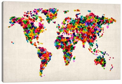 World Map Hearts (Multicolor) II by Michael Tompsett Canvas Artwork