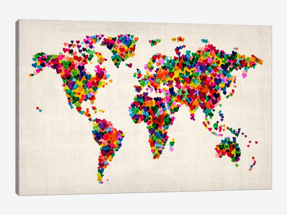 World Map Hearts (Multicolor) II by Michael Tompsett 1-piece Canvas Wall Art