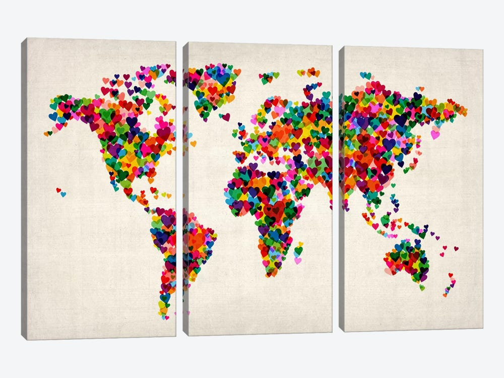 World Map Hearts (Multicolor) II by Michael Tompsett 3-piece Canvas Wall Art