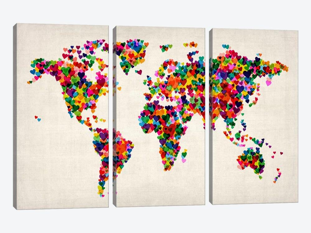 World Map Hearts (Multicolor) II by Michael Tompsett 3-piece Canvas Wall Art