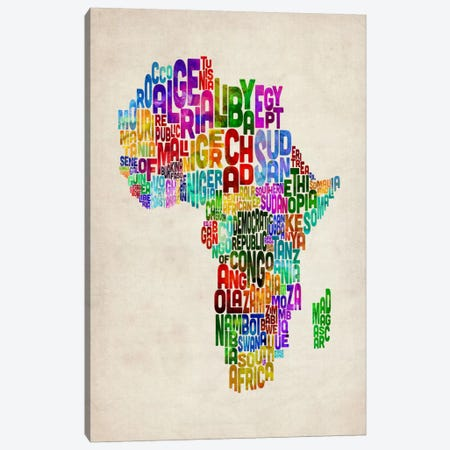 Typography Map of Africa II Canvas Print #12831} by Michael Tompsett Canvas Wall Art