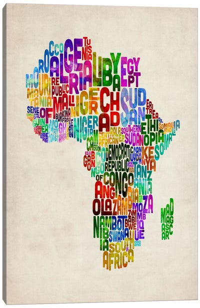 Typography Map of Africa II Canvas Art Print