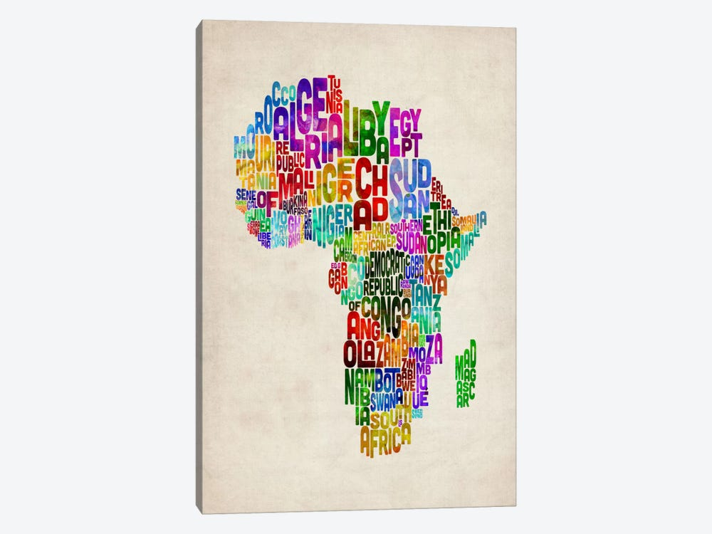 Typography Map of Africa II by Michael Tompsett 1-piece Art Print
