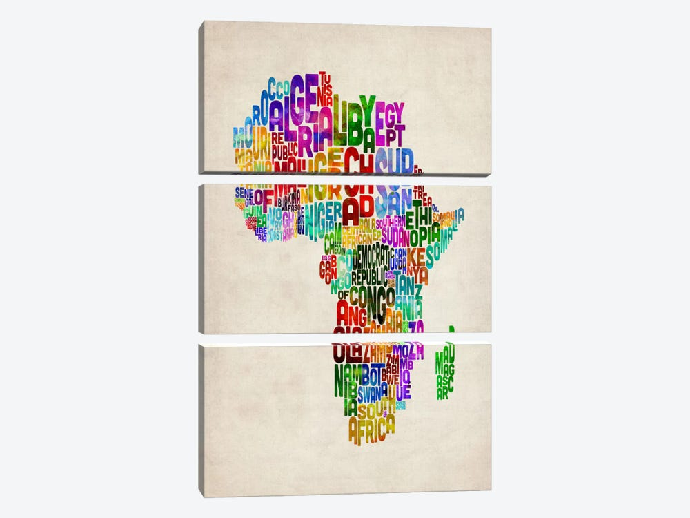 Typography Map of Africa II by Michael Tompsett 3-piece Art Print