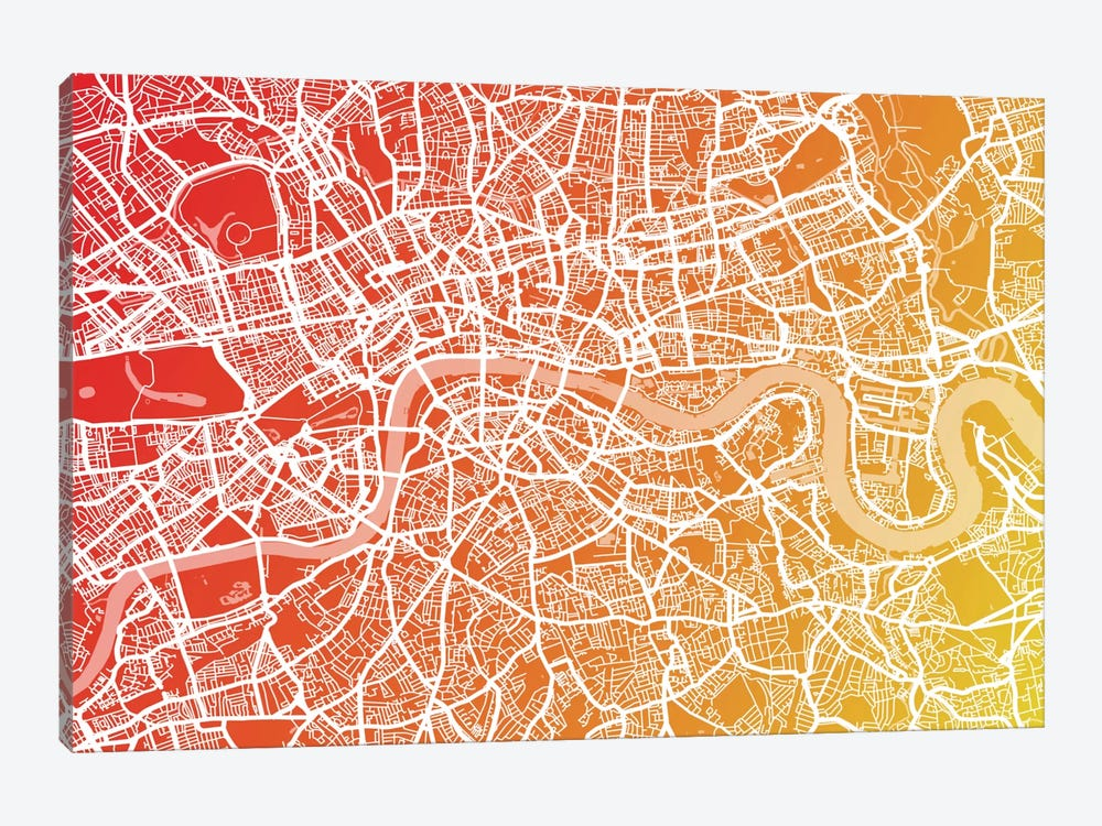 London Map IX by Michael Tompsett 1-piece Canvas Artwork
