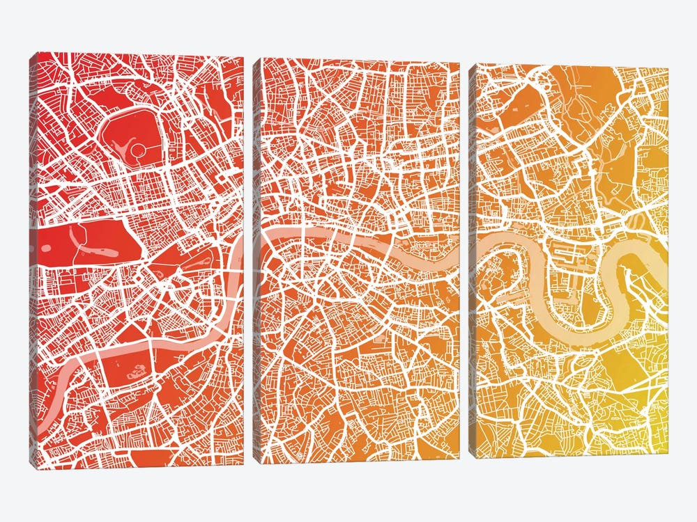 London Map IX by Michael Tompsett 3-piece Canvas Wall Art