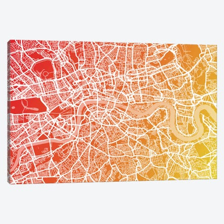 London Map IX Canvas Print #12832} by Michael Tompsett Canvas Wall Art