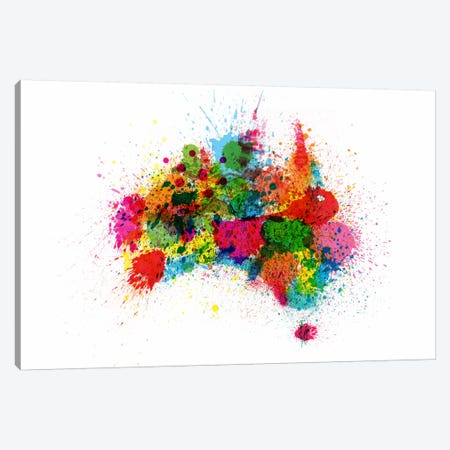 Australia Paint Splashes Map Canvas Print #12833} by Michael Tompsett Canvas Artwork