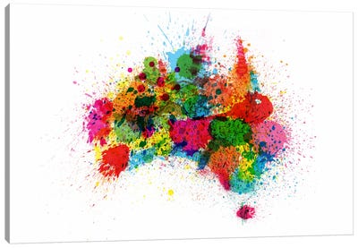 Australia Paint Splashes Map Canvas Art Print
