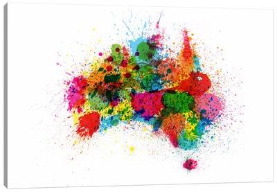 Australia Paint Splashes Map Canvas Print #12833