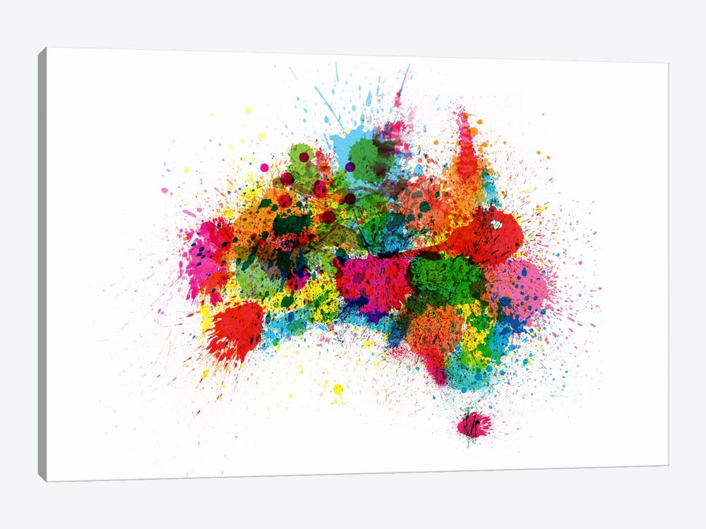 Australia Paint Splashes Map by Michael Tompsett 1-piece Art Print