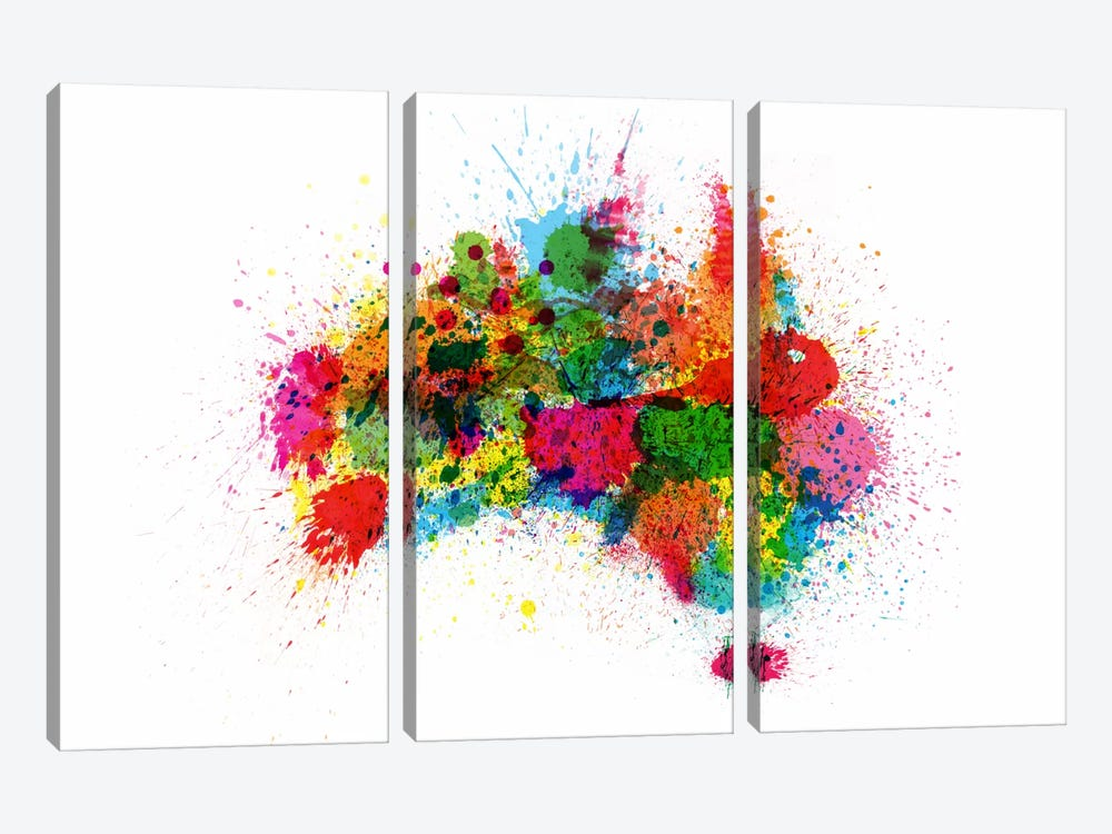 Australia Paint Splashes Map by Michael Tompsett 3-piece Canvas Art Print
